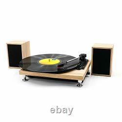 Vinyl Record Player with Powerful External Speakers 3 Speed Belt-Driven Wooden